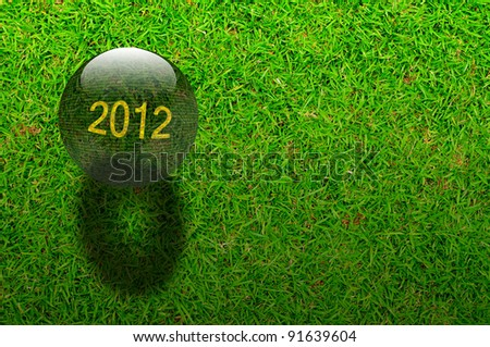 Crystal ball with year 2012 on Green grasses background