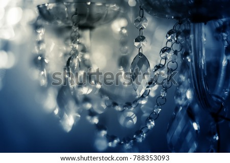 Crystal chandelier close-up. Glamour background with copy space