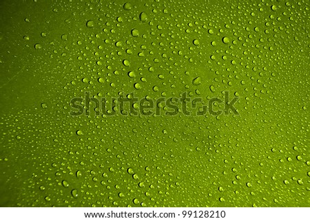 Crystal clear water drops over blue background. - stock photo