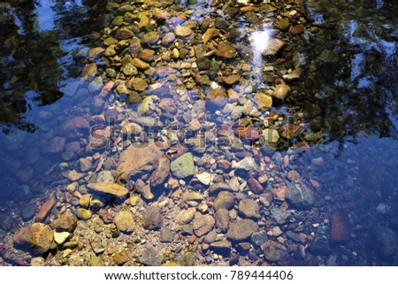 crystal clear water over creek bed and colourful pebbles