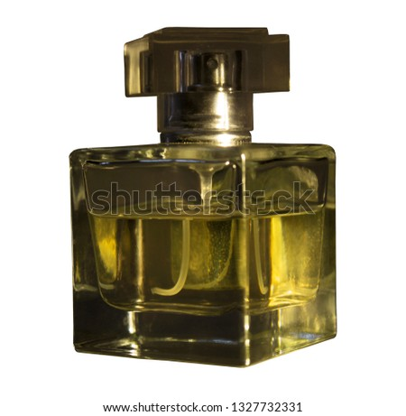 Crystal glass bottles for inserting fragrances isolated with clipping paths on a white background for graphic design. #1327732331