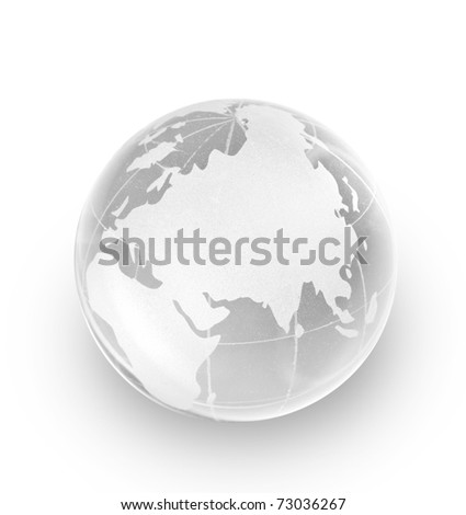 Crystal glass globe isolated on white background