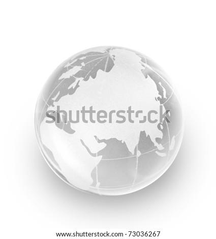 Crystal glass globe isolated on white background