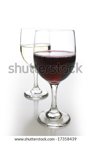 Crystal glasses with white and red wine