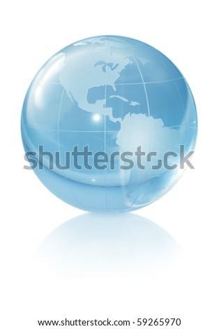 Crystal globe on white background - stock photo