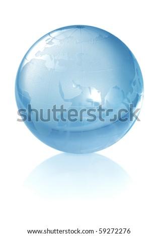 Crystal globe on white background