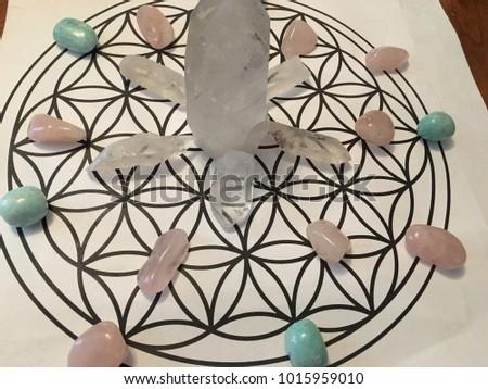 crystal grid on flower of life #1015959010