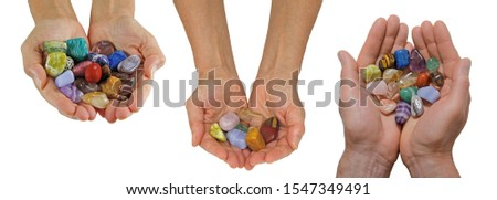 Crystal Healer holding selection of tumbled healing crystals - three different styles of cupped hands filled with various multicoloured stones isolated on white background for easy cut out