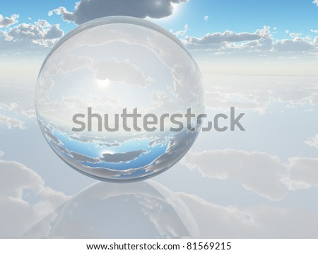 Crystal marble on white with sky