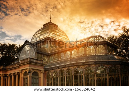 Crystal Palace in Retiro Park Madrid Spain