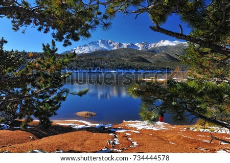 Crystal Reservoir after a snow with Pikes Peak  #734444578