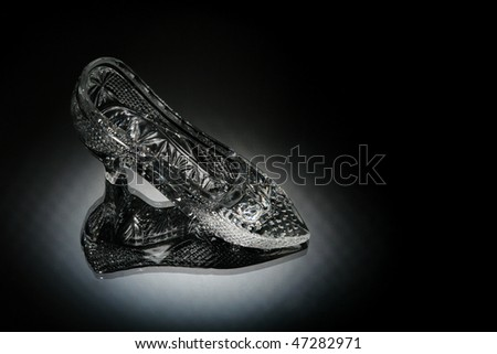 crystal shoe in a white light
