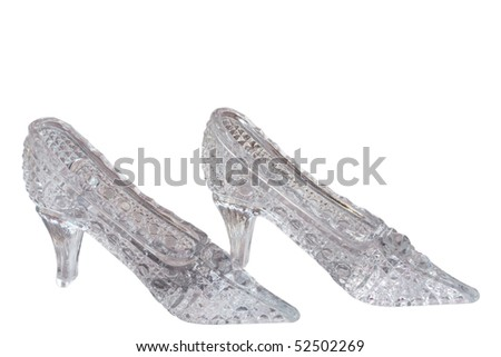 Crystal shoes on a white background