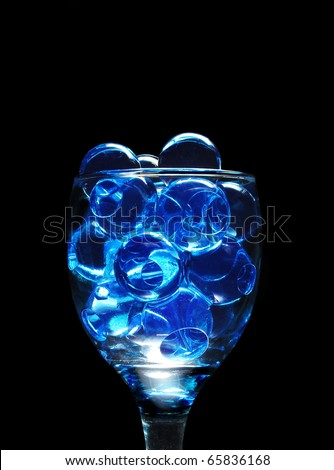 Crystal soil in glass (water absorbent polymer that can hold plants) - stock photo