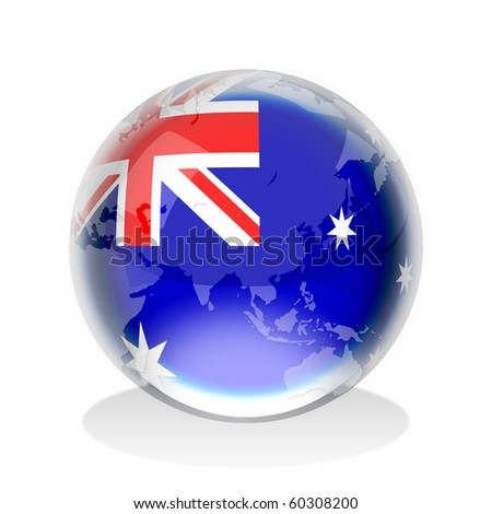 Crystal sphere of Australian flag with world map