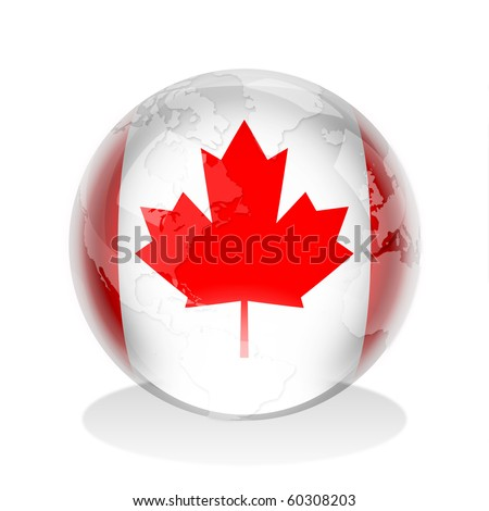 Crystal sphere of Canadian flag with world map