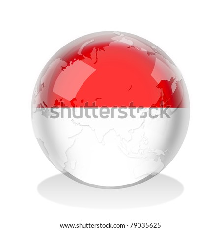 Crystal sphere of Indonesia flag with world map