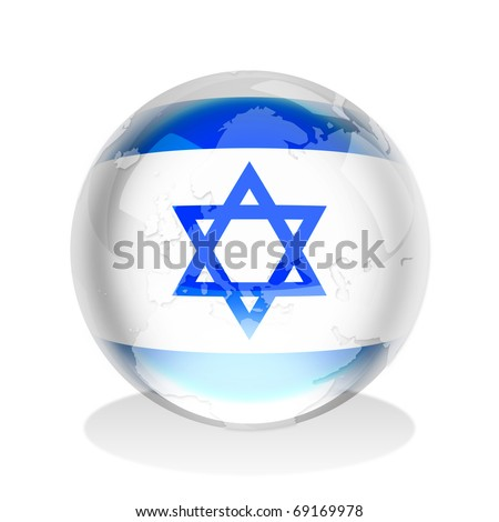 Crystal sphere of Israel flag with world map