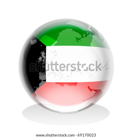 Crystal sphere of Kuwait flag with world map