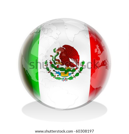 Crystal sphere of Mexican flag with world map