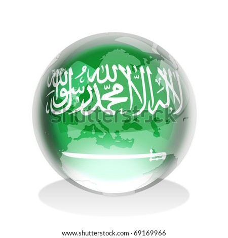 Crystal sphere of Saudi Arabia flag with world map