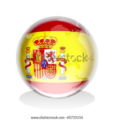 Crystal sphere of Spanish flag with world map