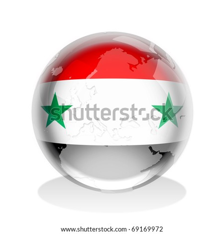 Crystal sphere of Syria flag with world map