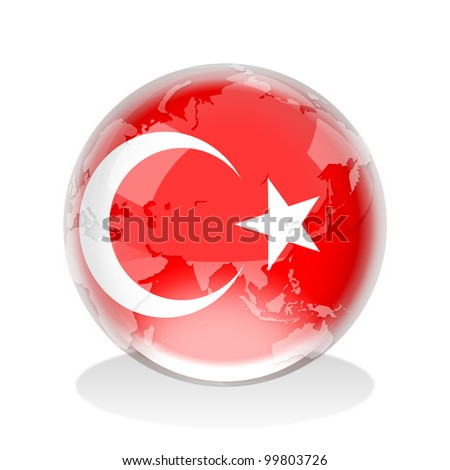 Crystal sphere of Turkey flag with world map