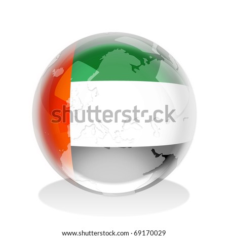 Crystal sphere of United Arab Emirates flag with world map