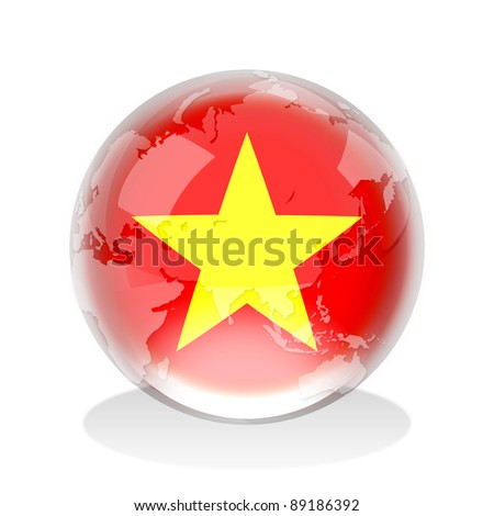 Crystal sphere of Vietnam flag with world map