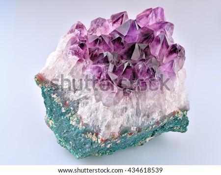 Crystal Stone macro mineral, purple rough amethyst quartz crystals #434618539