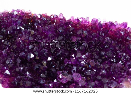 Crystal Stone macro mineral, purple rough amethyst quartz crystals on white background #1167162925