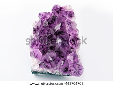 Crystal Stone macro mineral, purple rough amethyst quartz crystals on white background #463706708