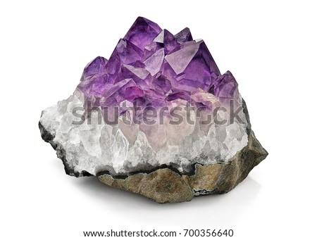 Crystal Stone macro mineral, purple rough amethyst quartz crystals on white background