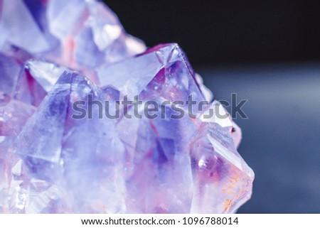 Crystal Stone macro mineral surface, purple rough amethyst quartz crystals #1096788014