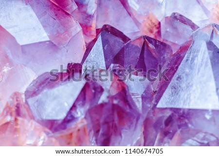 Crystal Stone macro mineral surface, purple rough amethyst quartz crystals #1140674705