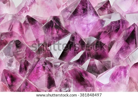 Crystal Stone macro, purple rough amethyst quartz crystals #381848497