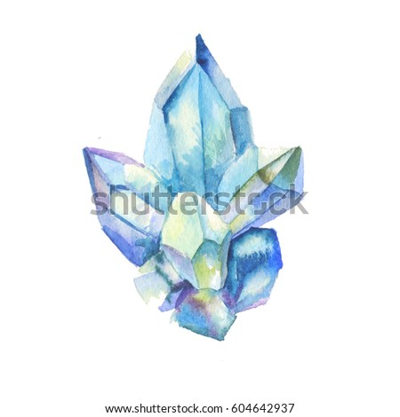 Crystal watercolor, blue rhinestone isolated on white