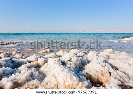 crystalline coastline of Dead Sea, Jordan