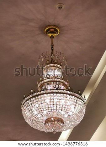 Crystals Chandeliers hanging from the ceiling