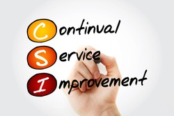 CSI - Continual Service Improvement acronym with marker, business concept background