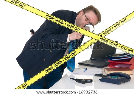 CSI investigator researching office crime scene, taking fingerprints, weapon in foreground, white background, studio shot.