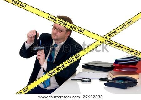 CSI investigator researching office crime scene, taking fingerprints, weapon in foreground, white background, studio shot.