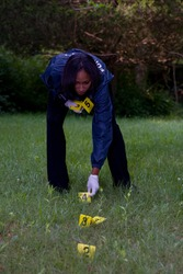 CSI places numbered markers near evidence.