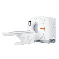 CT Scan Isolated on White. Magnetic Resonance Imaging Machine. Side View of MRI Scanner. MRI Scans. Computerized Axial Tomography Scan. X-ray Computed CAT Medical and Science Equipment