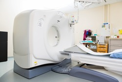 CT scan machine in examination room at hospital