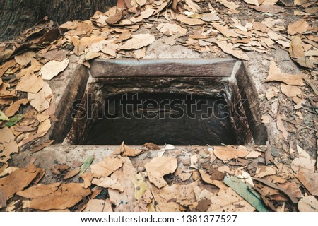 Cu chi tunnels history in Vietnam. Cu Chi tunnel built by vietnamese guerilla forces during Vietnam war, 60 km from Ho Chi Minh City, Southeast Asia
