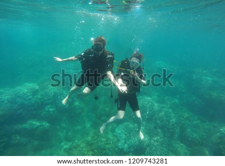 Cu Lao Cham island, Hoi An, Vietnam - October 22, 2018: Beautiful coral reefs at Cu Lao Cham, Hoi An, Vietnam. Tourists come here to see sight and dive under the clear water. #1209743281