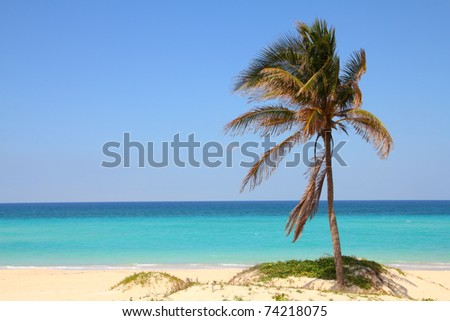 Cuba - Caribbean beach Playa Megano in Playas del Este part of Havana Province. Sandy coast.