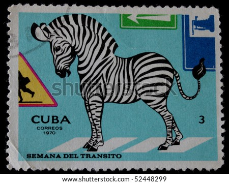CUBA-CIRCA 1970: A post stamp printed in Cuba and shows illustration for traffic regulations. Circa 1970.